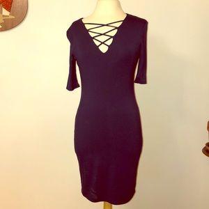 Lace-up V-neck Dress.